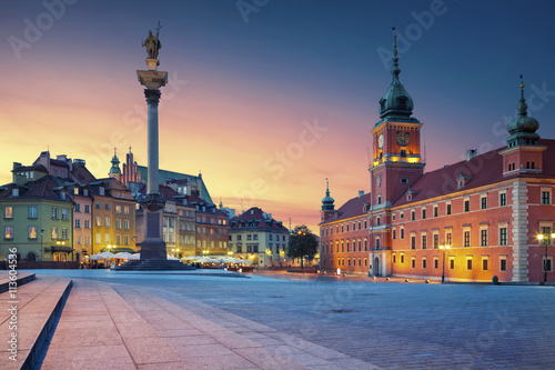 obraz PCV Warsaw. Image of Old Town Warsaw, Poland during sunset.