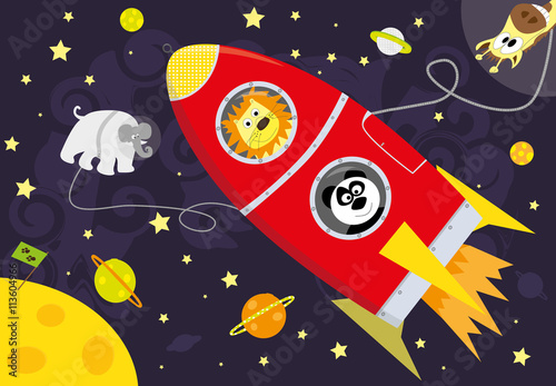 Poster wild cartoon animals, red rocket, space, stars and planets- vectors illustration for children