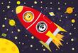 czerwona rakieta i zwierzęta , kosmos i planety w tle/ ilustracja wektorowa dla dzieci
