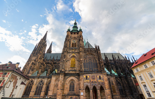 Staande foto Praag Famous St. Vitus Cathedral Prague, Czech Republic. Sunny evening