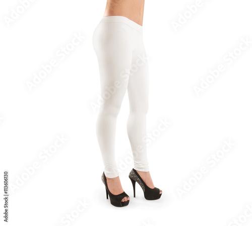 woman wear white blank leggings mockup isolated clipping path women in clear leggins