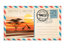 Vintage Postcard Travel Africa With Stamp Air Mail