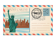 Vintage Postcard Travel New York With Stamp Air Mail