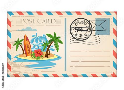 Fototapeta Vintage postcard travel surf wave with stamp air mail obraz
