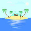 Endless Summer on the island paradise. Vector illustration of a paradise island.