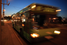 Motion Blurred Bus On The Stre...