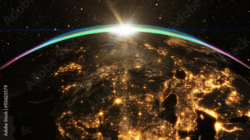 Highly detailed epic sunrise over world skyline Fototapete