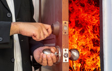 Abstract Business Man Will Close The Door For Shut Fire Burn
