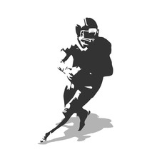 American Football Player Vector Illustration. Running Isolated F