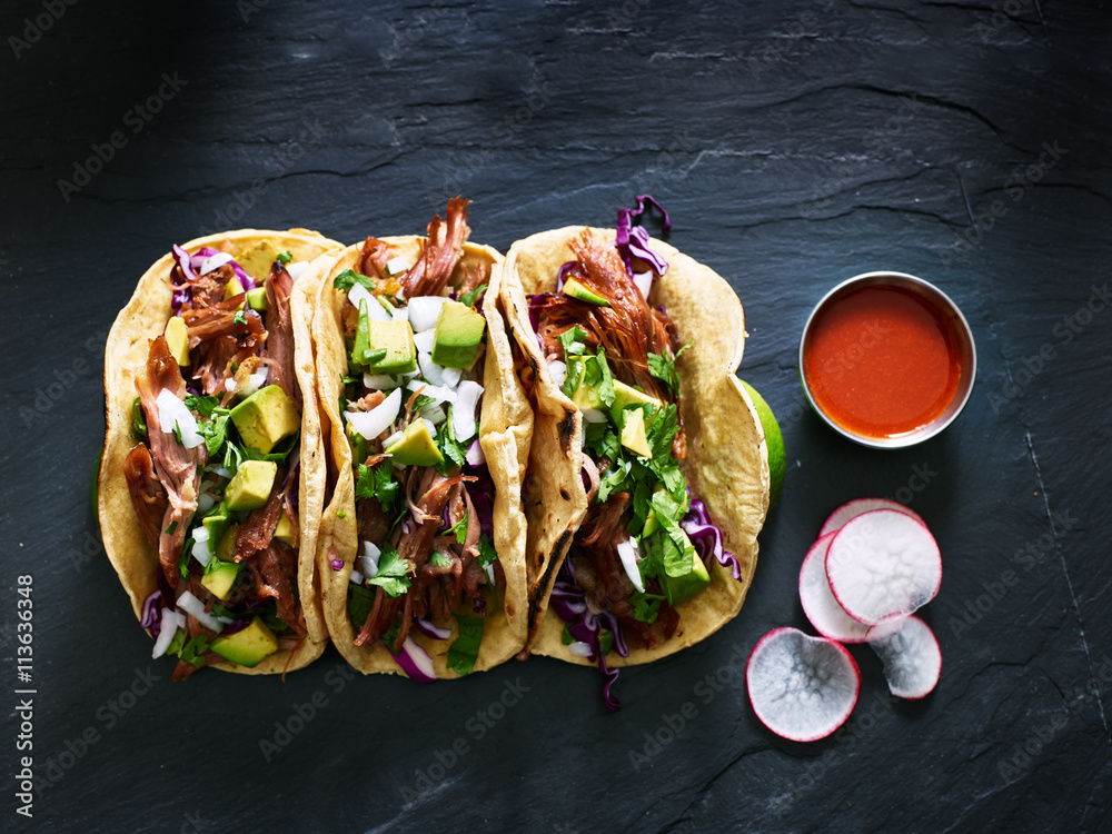 Fototapety, obrazy: three mexican pork carnitas tacos flat lay composition