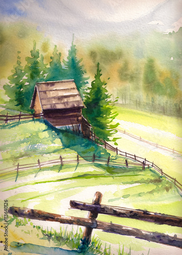 Fotobehang Zwavel geel Wooden hut in mountains.Picture created with watercolors.