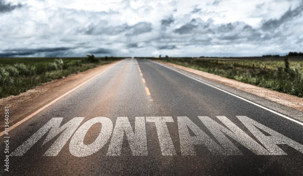 Fototapety, obrazy: Montana written on the road