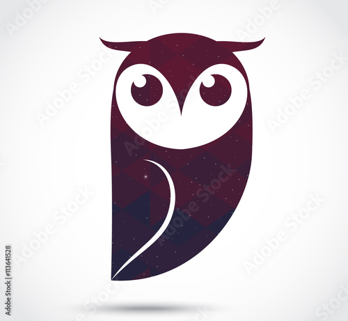 Poster Uilen cartoon Owl abstract icon isolated on white
