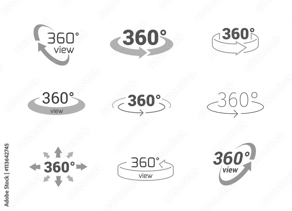 Fototapeta 360 Degrees View Vector Icon.