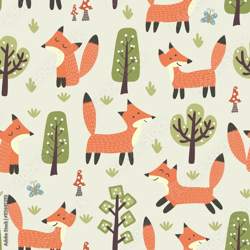 Fototapeta Forest seamless pattern with cute little foxes and trees