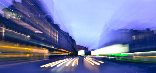 Evening city traffic lights speed blurred  motion