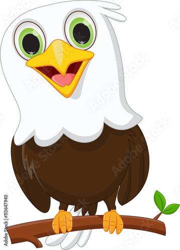 Poster Uilen cartoon cute little eagle on a tree branch