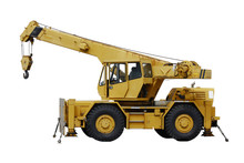 Stock Photo:  Industrial Mobile Crane Demag And Hook On White Ba
