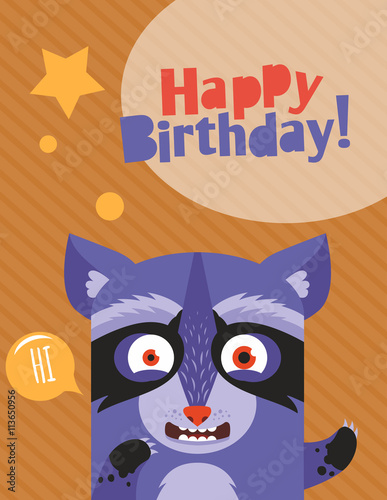 Wall Murals Cats Monster party card design. Happy birthday vector illustration with zombie animal. Can be used for notebook, notepad cover design.