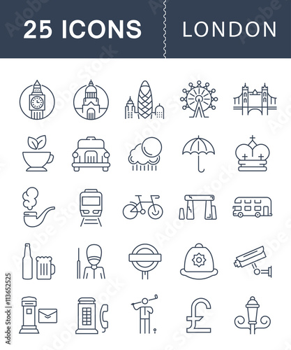 Set Vector Flat Line Icons London Canvas Print