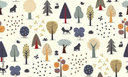 Cotton fabric The vector illustrated seamless pattern of flat forest elements - various trees, wild animals and seeds.