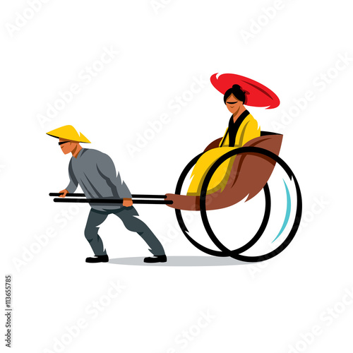 Fotografie, Obraz  Vector China Rickshaw Cartoon Illustration.