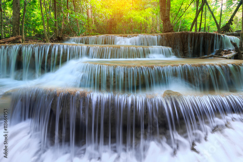 Deurstickers Watervallen Landscape photo, Huay Mae Kamin Waterfall, beautiful waterfall in rainforest at Kanchanaburi province, Thailand