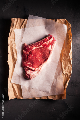 Close-up of a raw steak Poster