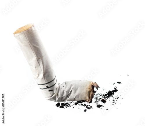 Cigarette butt isolated on white background. Fototapet
