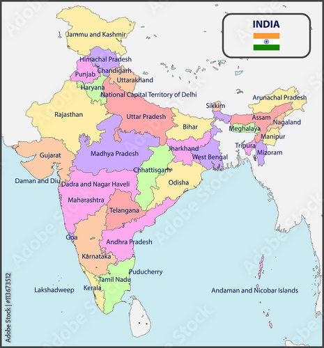 Political Map of India with Names – kaufen Sie diese ...