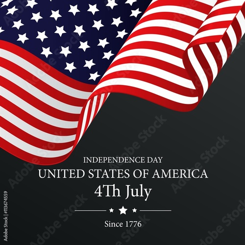 Poster  Independence Day with waving flag on dark background