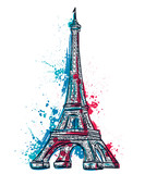 Fototapeta Fototapety z wieżą Eiffla - Eiffel Tower with abstract splashes in watercolor style. Colorful hand drawn vector illustration
