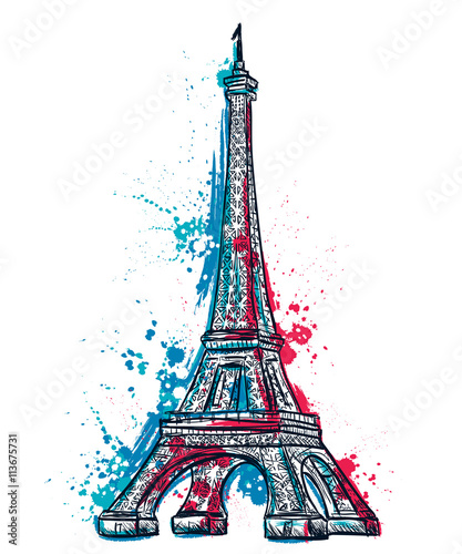Photo  Eiffel Tower with abstract splashes in watercolor style