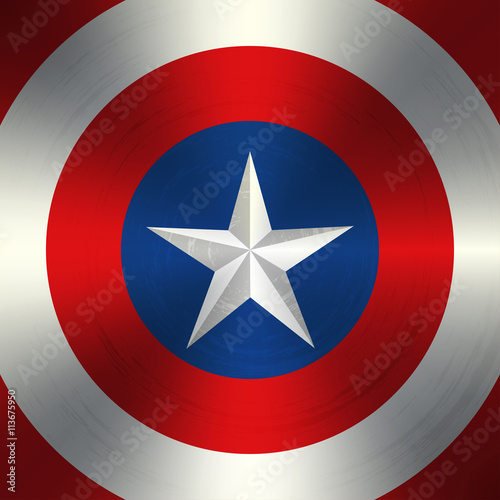 Photo  Vector white star in the shabby colored circles.