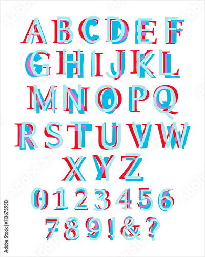 Kids Style Colorful Latin Alphabet Layered With Different Fonts