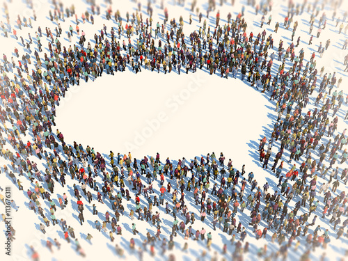 Fotografija Large group of people forming a speech bubble symbol
