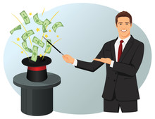 Smiling Businessman With A Magic Wand.  Money Are Coming Out Of The Magic Hat. Financial Wizard.