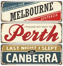 Vintage Metal Signs Collection With Australian Cities