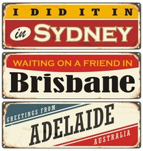 Sydney, Brisbane And Adelaide Retro Print Templates