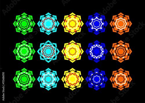 Fototapeta Symmetrical Arab rosette of several colors 14 obraz na płótnie