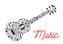 Guitar Composed Of Musical Notes Icon