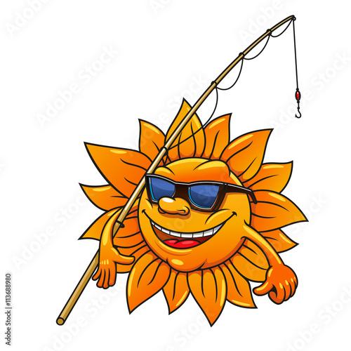 f6b09fd0b9 Cartoon sun in sunglasses with fishing rod - Buy this stock vector ...