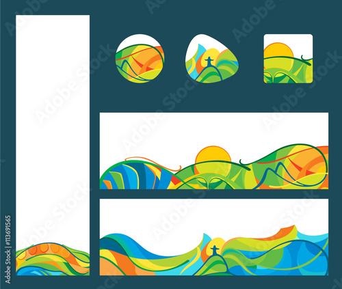 Fotografía  Summer travel - banners and buttons set