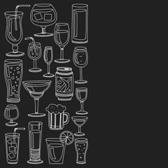 Fototapeta samoprzylepna Alcohol drinks and cocktails icon set