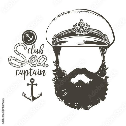 Fotografía  captain beard, cap, sunglasses