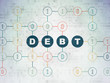 Finance concept: Debt on Digital Data Paper background