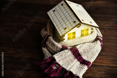 environmentally friendly warm home wrapped in a soft comfortable scarf