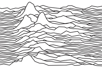 Obraz na Plexi Minimalistyczny The rhythm of the waves, the pulsar, vector lines design, broken lines, mountains