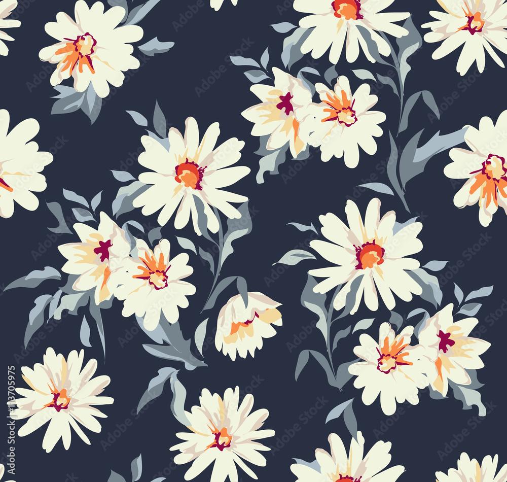 Fototapeta pretty daisy floral print ~ seamless background