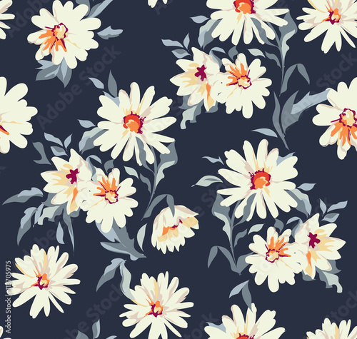 Leinwand Poster pretty daisy floral print ~ seamless background